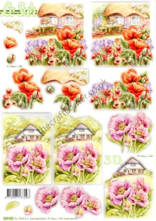 Cottages With Poppy Designs Die Cut 3d Decoupage Sheet From Le Suh